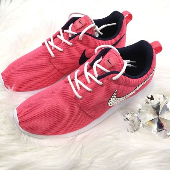 reputable site 1115c 2cfd0 Swarovski Nike Roshe One Bling Shoes Living Coral